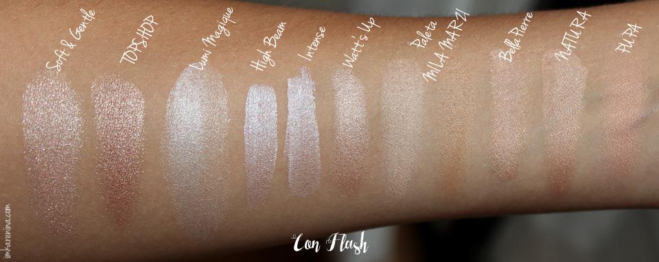 Coleccion-Maquillaje-Iluminadores-Karenina-Lukoski-swatches-flash